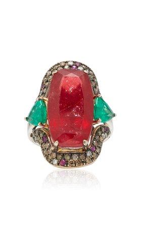 Dorion Soares 18K Gold, Rhodonite, Emerald and Diamond Ring