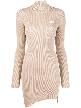 Neutral Gcds Asymmetric Ribbed Dress   Farfetch.com