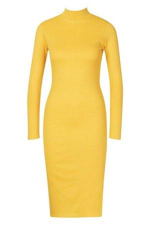 Jumbo Rib High Neck Split Midi Dress yellow