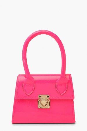 Slogan Clear Mini Lock Grab Bag   boohoo