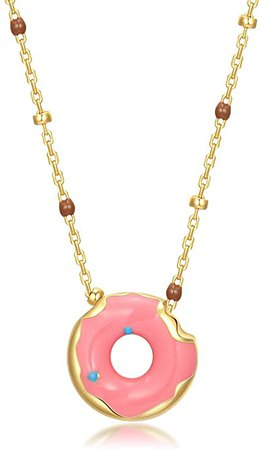 Onchic Gold Plated Necklace for Girls Sterling Silver Pendant Necklace Pink Donut Enamel Sprinkle Fashion Food Jewelry for Women: Amazon.co.uk: Jewellery