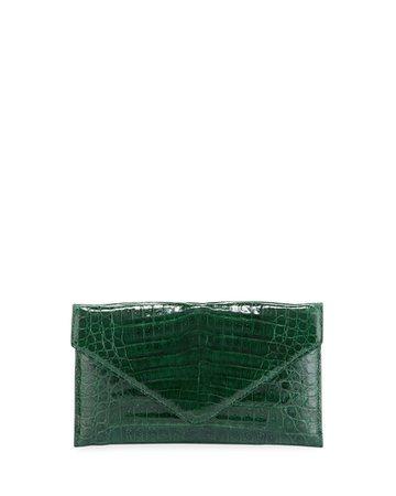 Judith Leiber Couture Flat Caiman Crocodile Envelope Clutch   Neiman Marcus