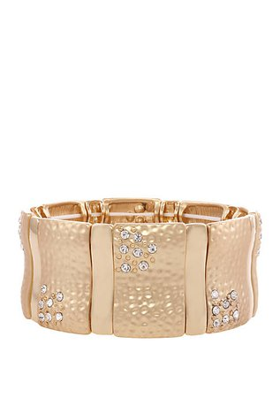 Erica Lyons Gold Tone Hammered Stretch Bracelet with Crystal Stone Accents