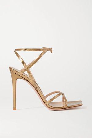 Gold Georgina 105 metallic leather sandals   Gianvito Rossi   NET-A-PORTER