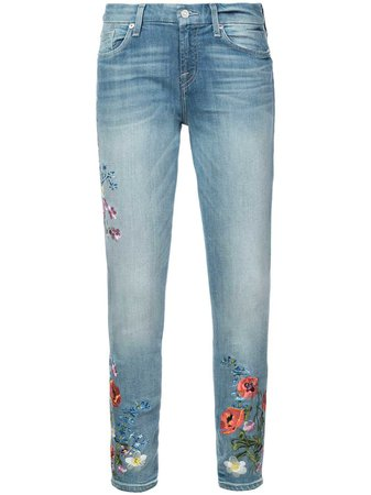 7 For All Mankind Floral Embroidered Skinny Jeans - Farfetch