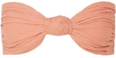 Hunter Knotted Textured Bandeau Bikini Top - Blush