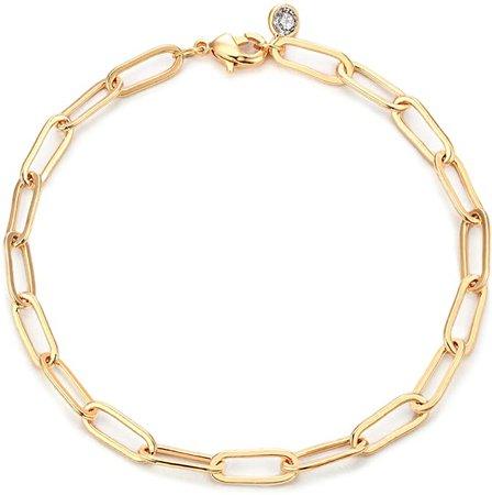 Amazon.com: Mevecco Gold Bracelets for Women 14K Gold Plated Dainty Handmade oval chain Bracelet for Women: Clothing
