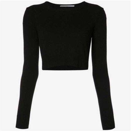 black long sleeve crop cropped top t-shirt tee shirt top long sleeve sleeves sleeved thermal warm hot winter basic basics womens women's women
