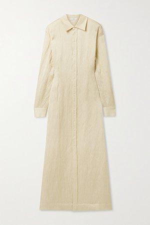 Crinkled Linen-blend Maxi Shirt Dress - Yellow