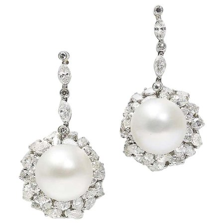 Vintage South Sea Pearl and Diamond Earrings For Sale at 1stDibs