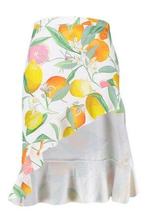 Plus Fruit Print Ruffle Detail Midi Skirt | Boohoo