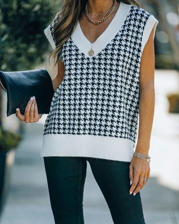 Zabana Houndstooth Knit Sweater Vest – VICI