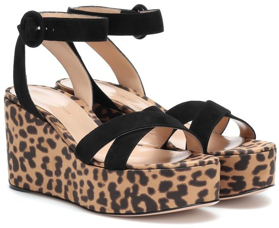 Suede-trimmed platform sandals