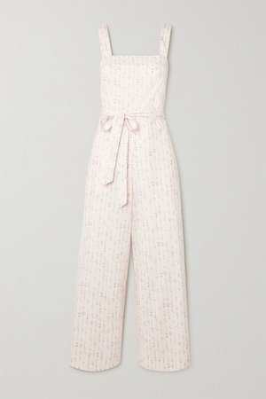 Shortcake Belted Floral-print Cotton Jumpsuit - Pastel pink