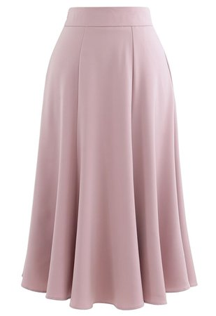 Satin A-Line Midi Skirt in Pink - Retro, Indie and Unique Fashion
