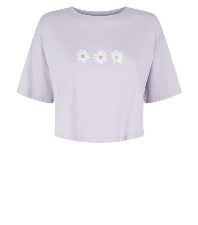 Lilac Daisy Print Boxy Crop T-Shirt | New Look