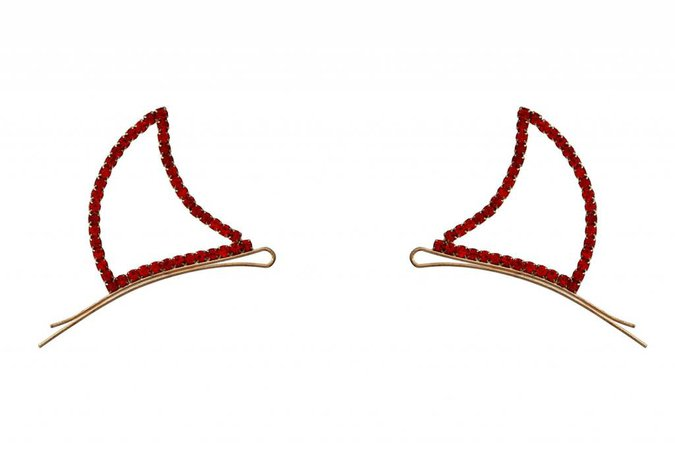 Devil Horns Bobby Pins, Rhinestone - Red - Ronjo Magic, Costumes and Party Shop