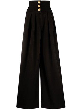Shop black Balmain pleat-detail wide-leg trousers with Express Delivery - Farfetch