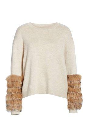 Alice + Olivia Shiela Genuine Fox Fur Cuff Sweater | Nordstrom