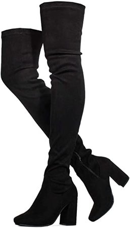 Amazon.com | Cab-21 Women's Fitted Over The Knee Thigh High Chunky Heel Stretch Boots (Medium Calf) BLACK Size.8.5 | Over-the-Knee