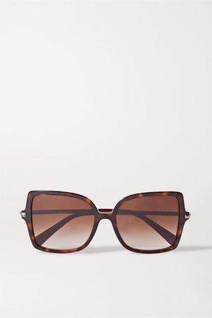 Tortoiseshell Valentino Garavani Rockstud oversized square-frame tortoiseshell acetate sunglasses | Valentino | NET-A-PORTER