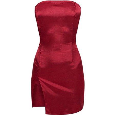 Burgundy Bandeau Satin Split Bodycon Dress ($30)