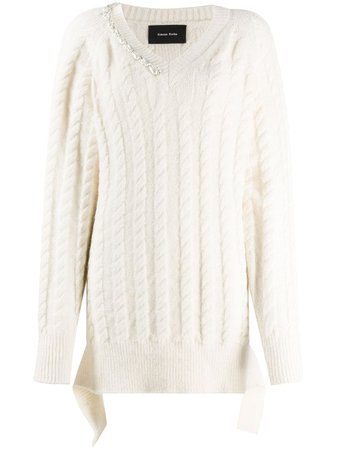 Shop white Simone Rocha cable-knit pearl pullover with Express Delivery - Farfetch