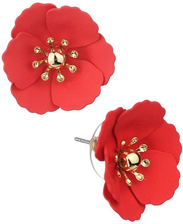 Amazon.com: Women's Metal Matte Flower Petal Stud Pierced Earrings, Red: Jewelry
