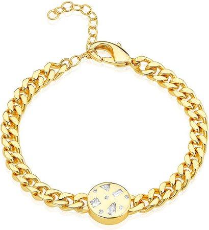 Multishape Stones Curb Chain Bracelet