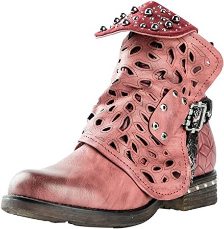 Amazon.com | LALA IKAI Women Motorcycle Boots Combat Ankle Combat Boots with Studded Low Block Heels Biker Shoes WineRed | Ankle & Bootie