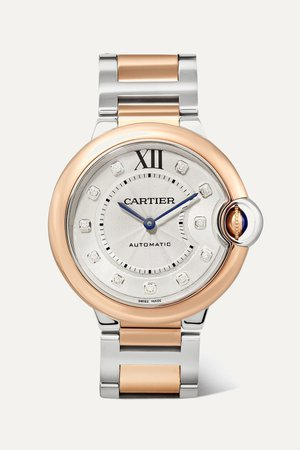 Rose gold Ballon Bleu de Cartier 36mm 18-karat rose gold, stainless steel and diamond watch | Cartier | NET-A-PORTER