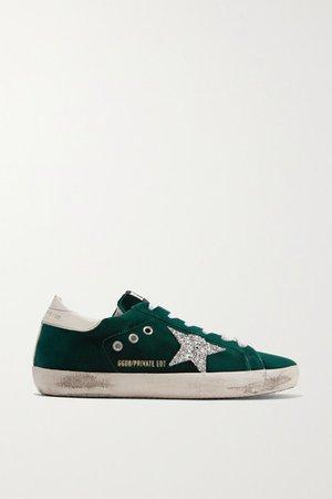 Superstar Glittered Velvet Sneakers - Emerald