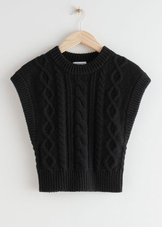 Short Fitted Cable Knit Vest - Black - Sweaters - & Other Stories