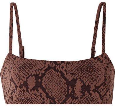 Sia Jacquard-knit Bikini Top - Brown