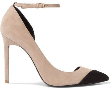 Anja Two-tone Suede Pumps - Beige