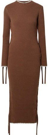 Lace-up Ribbed Cotton Dress - Brown