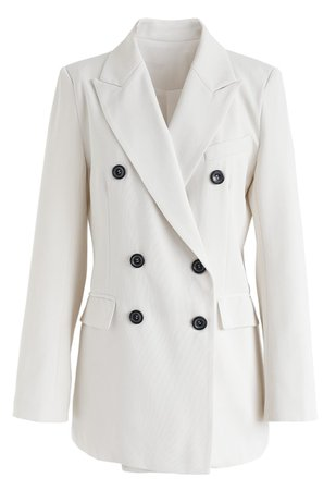 Double-Breasted Pockets Blazer in Ivory - Long Sleeve - TOPS - Retro, Indie and Unique Fashion