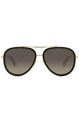 Gucci Aviator in Gold & Grey | REVOLVE
