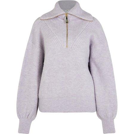 Purple half zip knitted jumper | River Island