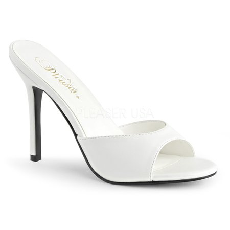 Pleaser Classique 01 White Leather Look Slip on High Heel Mules