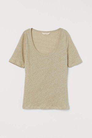 Linen T-shirt - Beige