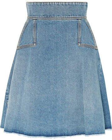Pleated Denim Mini Skirt - Indigo