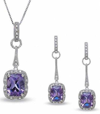 amethyst necklace earrings