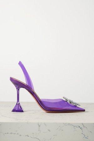 Begum Crystal-embellished Pvc Slingback Pumps - Violet