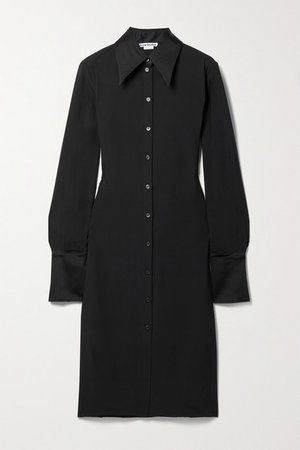 Satin-trimmed Crepe Shirt Dress - Black