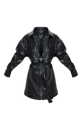 Petite Black Belted PU Jacket Dress | PrettyLittleThing USA