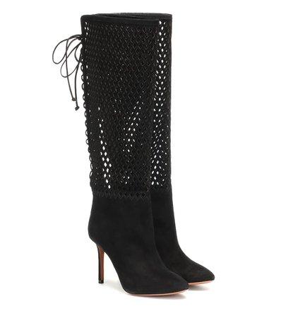 Perforated Suede Knee-High Boots - Alaïa | Mytheresa