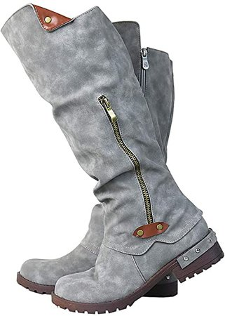 Amazon.com | Vimisaoi Knee High Boots for Women, Zipper Low Chunky Heel Combat Motorcycle Boots | Knee-High