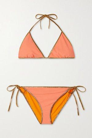 Hampton Metallic-trimmed Reversible Bikini - Saffron