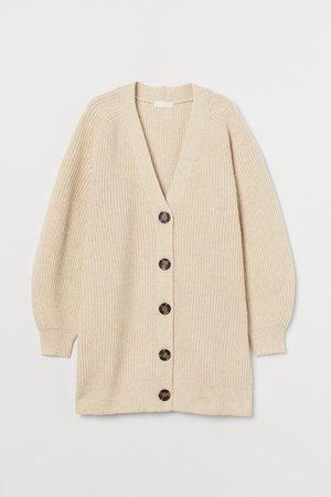 Rib-knit cardigan - Light beige - Ladies | H&M GB